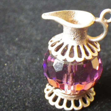 Sterling Silver Amethyst Coloured Crystal Jug Charm