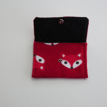Red Fox Flannel Card Case or Teeny Pocket Choose Your Size