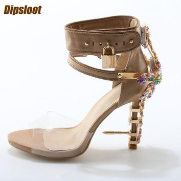 Rhinestone Cover Nail Heel Sandals PVC Ankle Buckles Unique High Heels Lock Side Shoes