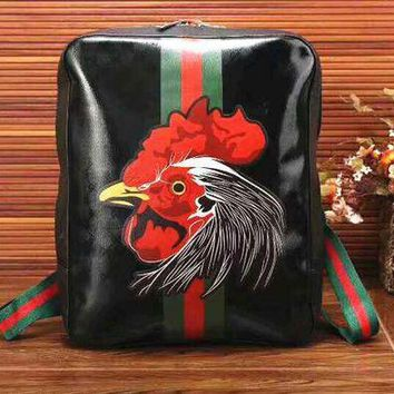 VONE05 Gucci Women Fashion Leather Tiger Angry Cat Embroidery School Bookbag Backpack Tagre-