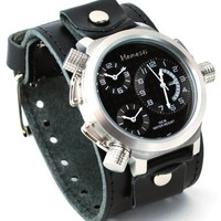 Nemesis #LBB080K Men's Signature Collection 3 Time Zone Oversized Wide Leather Cuff Band Watch