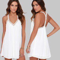 New Summer Women Sexy Beach Dress Beach Cover Up V-Neck Backless Splicing Lace Strap Chiffon Dress Swimsuit Bikini Cover Up