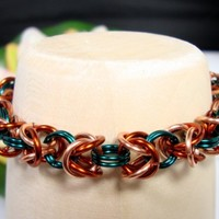 Ladies Chainmaille Bracelet Copper Peacock Blue Box Weave Handmade