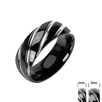 Vortex - Twister Sliding Alternative Design Black Titanium Comfort Fit Ring