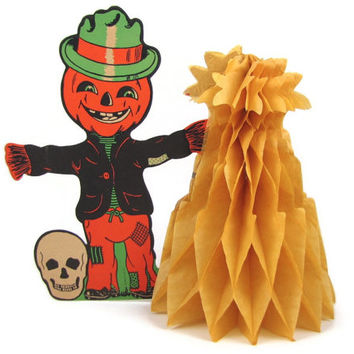 Halloween Haystack - Vintage 1950s Jack O Lantern Scarecrow with Honeycomb Hay Pile, Smiling Skull, Diecut Stand Up Table Centerpiece