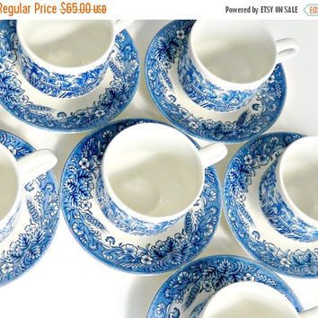 """CIJ SALE Vintage Blue and White Churchill China Cups and Saucers Set of 6. Currier & Ives """"Mill Dam"""". English Transferware Teacups Coffee Cu"""