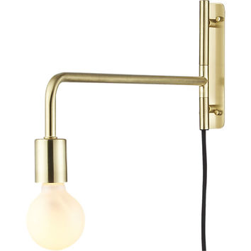 swing arm brass wall sconce