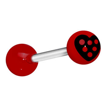 Red Black Polka Dot Heart Barbell Tongue Ring