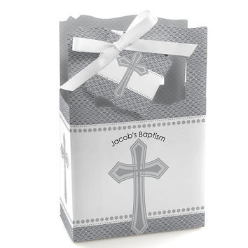 Delicate Blessings Cross - Personalized Baptism Favor Boxes