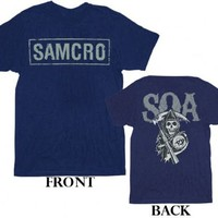 Sons of Anarchy SOA Samcro Cracked 2-Sided Navy Adult T-shirt  - Sons of Anarchy - | TV Store Online