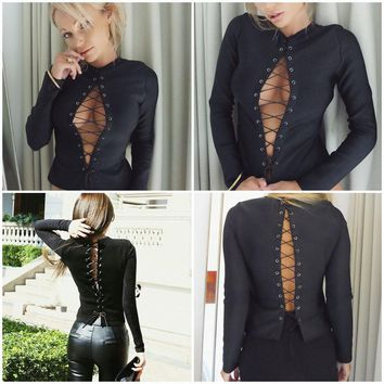 Fashion Women Sexy Lace Up Long Sleeve Tops Casual T-shirt Blouse Cotton Shirt A