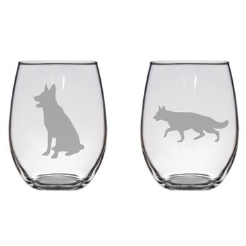 German Shepherd Engraved Glass Set, Dog Lover, Gift Free Personalization