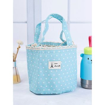 Polka Dot Drawstring Lunch Bag