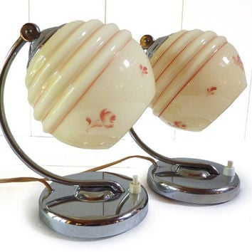 French Art Deco Vintage Pair of Bedside or Table  Lamps  with  Glass Globe Shade