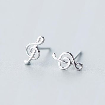 Small tinny earrings 1pair Real. 925 Sterling Silver Jewelry Treble Clef & Music musical notes stud Earrings GTLE918