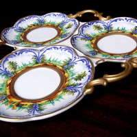 Antique 19th Century Italian Serving Plate Blue Crown N porcelain Gilt Handle Sectioned Tray