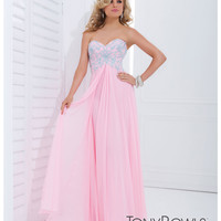 Tony Bowls 2014 Prom Dresses - Light Pink w/ Blue Floral Lace Strapless Breakaway Gown