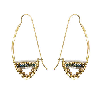 Hammered Brass Metallic Beaded Hoops