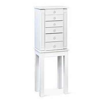 White Jewelry Armoire with Crystal Knobs