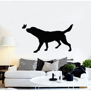 Vinyl Wall Decal Pets House Animals Care Dog Butterfly Silhouette Stickers Mural (g1357)