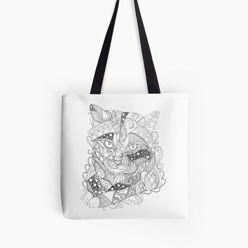 Adult coloring page, coloring book for adult, Coloring tote bag, coloring book for adults, adult coloring book, cat art, cat coloring