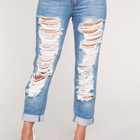 To The Bitter End Distressed Jeans - Light Blue Wash