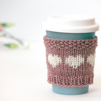 Easter Gift Coffee Accessories / Pink Cup Cozy / Coffee Kozie / Gift for Mom Heart / Rose Blush Pastel Pink/ Cup Sleeve / Hand Knit Gift