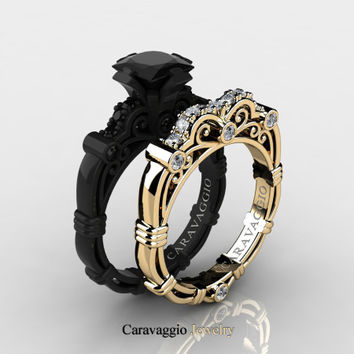 Caravaggio 14K Black and Yellow Gold 1.25 Ct Princess Black and White Diamond Engagement Ring Wedding Band Set R623PS2-14KBYGDBD