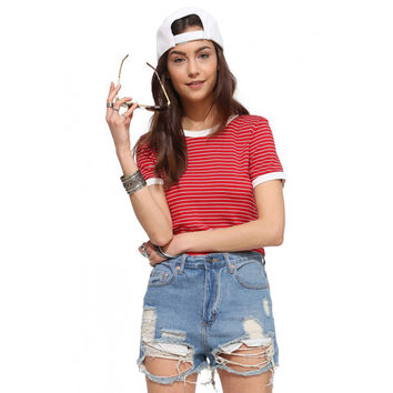 Red and WhiteStriped Short Sleeve Cropped Tee