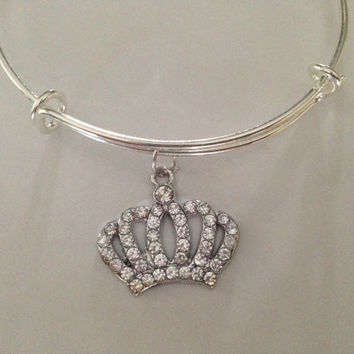 Crown Crystal Rhinestone Charm Expandable Bracelet Adjustable Bangle Gift Trendy Fun Unique Gift Princess Royal