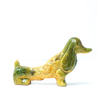 BITOSSI Dog 'Spagnolo' Green Yellow Decor, Aldo Londi, Handcrafted Animal, Made in Italy, Midcentury Modern Italian Ceramics, Dog Lover Gift