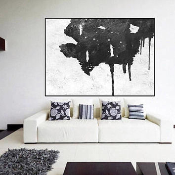 black and white abstract painting, extra large art, original Acrylic painting, canvas art,  art for big wall, modern Contemporary Painting