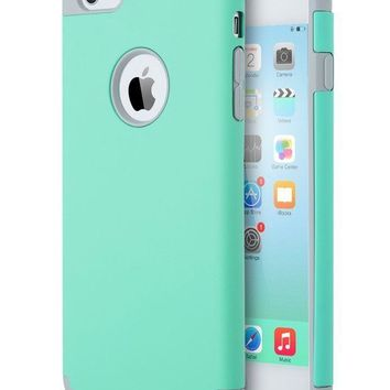 CREYON iPhone 6S Case Mint Green,iPhone 6 Case, ULAK Slim Dual Layer Soft Silicone & Hard Back Cover Bumper Protective Shock-Absorption & Skid-proof Anti-Scratch Hybrid Case-Turquoise/Grey