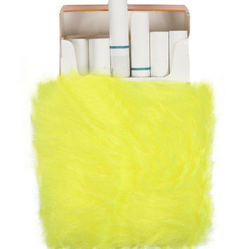 NEON YELLOW FUR CIGARETTE HOLDER