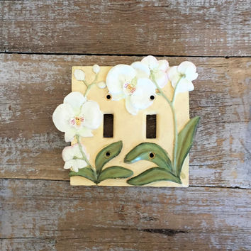 Light Switch Cover Double Decorative Light Switch Cover FLower Light Switch Plate Floral Double Light Switch Cover Home Improvement