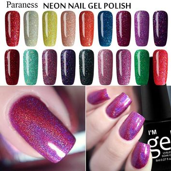 Sarness Hot Sale Color Gel Lacquer Neon Bling UV Gel Nail Polish Glitter Semi Permanent UV Gel Polish Nails Gel Lacquer Art