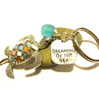 Colorful Sea Turtle Keychain With Sea Glass Charm