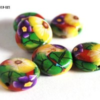 Yellow and Purple Flower Beads Green Leaves Red Polymer Clay Handmade
