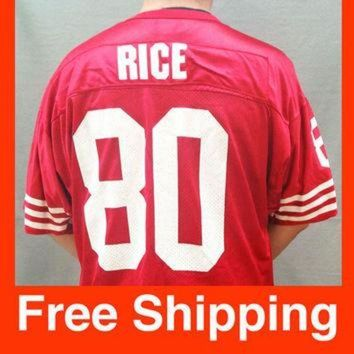 PEAPYD9 Vintage Jersey, Football, Jerry Rice Jersey, San Francisco 49ers, NFL, Wilson, Size Ad