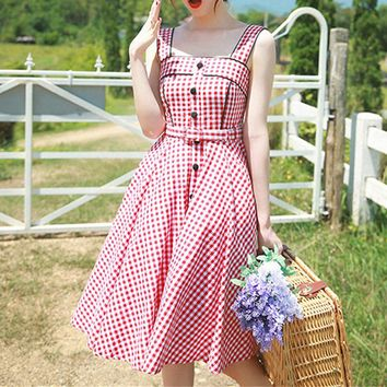 MapleClan Classic Audrey Hepburn Dress Red & White Plaid Belted Fit & Flare