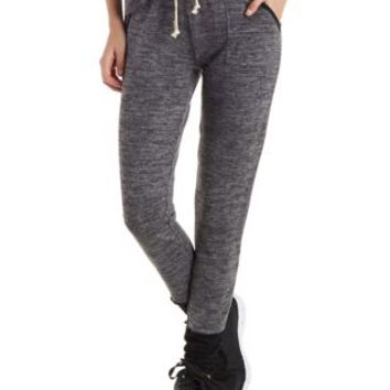 Charcoal Heather Marled Knit Jogger Pants by Charlotte Russe