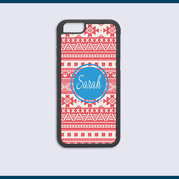 Personalized Monogram iPhone 6 6s Cases iPhone 6 6s Plus Case iPhone 5C Case iPhone 5 5s 4 4s Cases - Coral Aztec Iphone Case