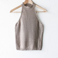 Knit Sleeveless High Neck Top