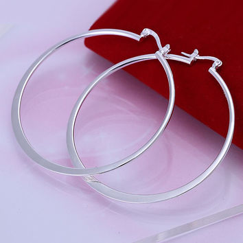 silver-plated earing Flat Circle hoop Earring silver plated Earrings 43 MP