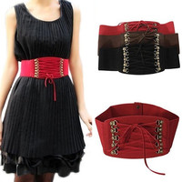 Fashion Women's Lady Rivet Elastic Buckle Wide Waist Belt Waistband Corset