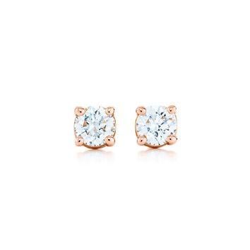 Tiffany & Co ~ Tiffany solitaire diamond earrings in 18k rose gold