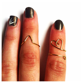 Gold Midi Rings Set of Two Knuckle Rings