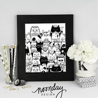 Kitty Cat Nursery Art, Itty Bitty Kitty Committee, Printable Art, Black and White Art, Children's Printable, Instant Download