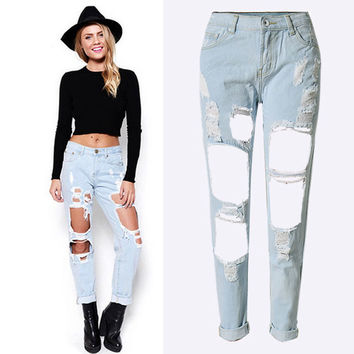 Fashion All-match Casual Female Ripped Beggar Loose Nine Points Jeans