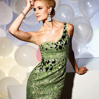 Terani - Kiwi Green One Shoulder Mirror Beaded Short Cocktail Dress - Unique Vintage - Cocktail, Evening & Pinup Dresses